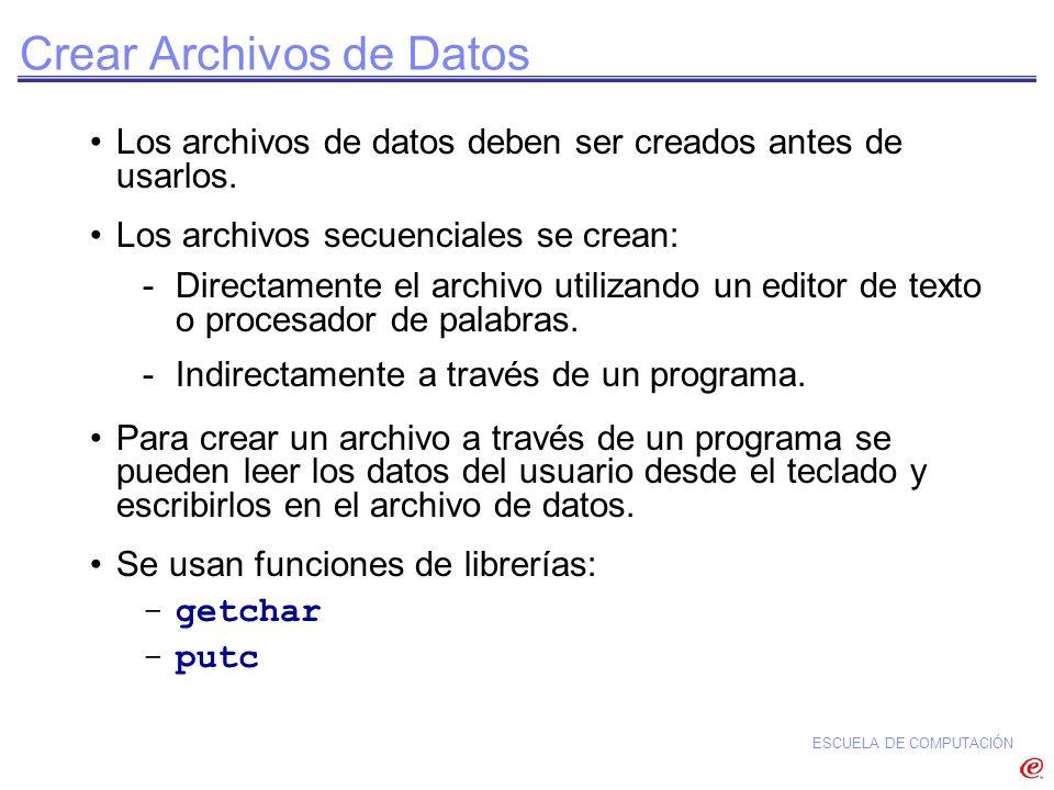 Crear Archivos de Datos