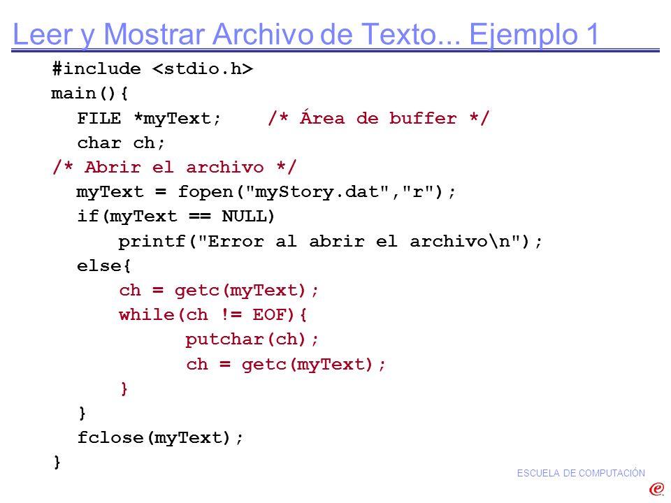 Leer y Mostrar Archivo de Texto... Ejemplo 1
