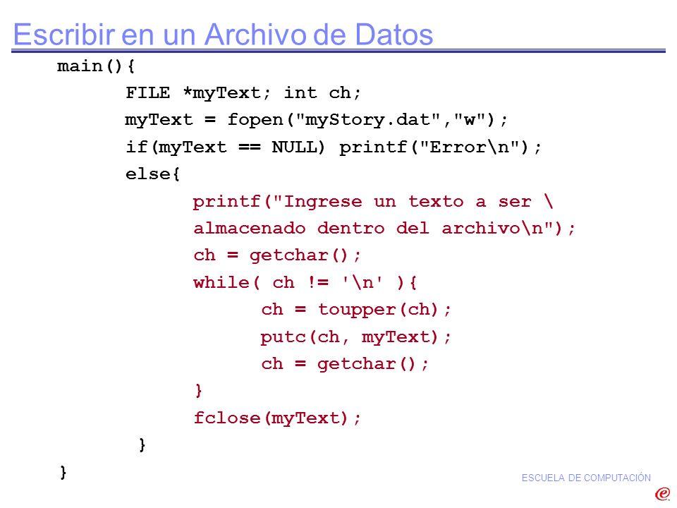 Escribir en un Archivo de Datos