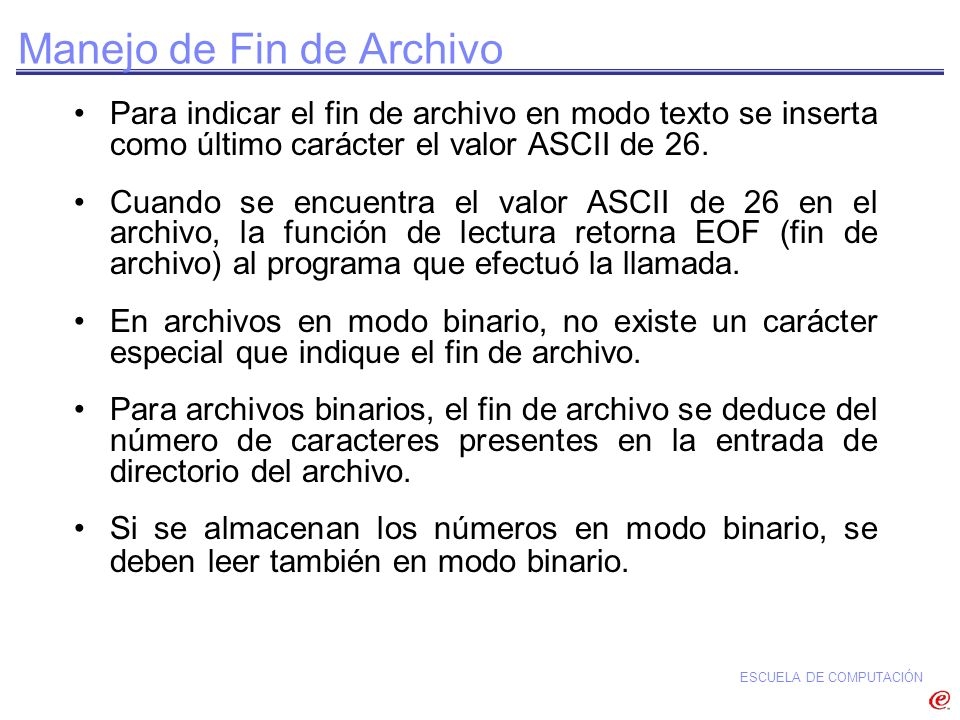 Manejo de Fin de Archivo