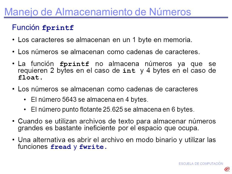 Manejo de Almacenamiento de Números