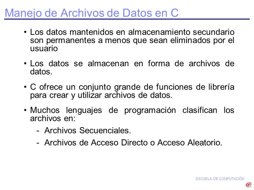 Manejo de Archivos de Datos en C