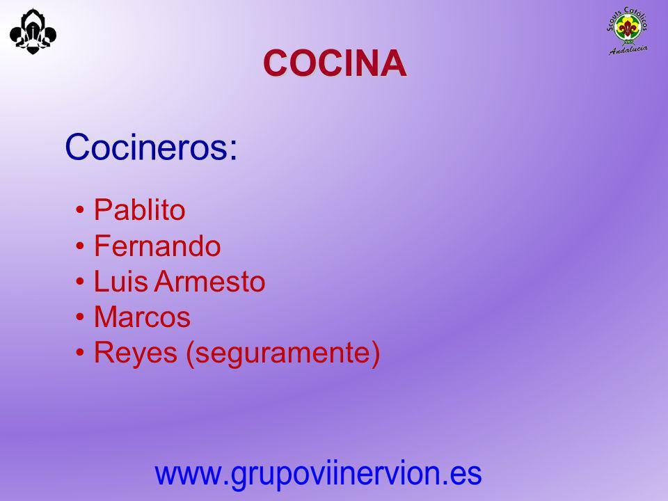 COCINA Cocineros: Pablito Fernando Luis Armesto Marcos