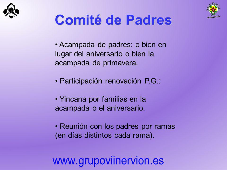 Comité de Padres Acampada de padres: o bien en lugar del aniversario o bien la acampada de primavera.