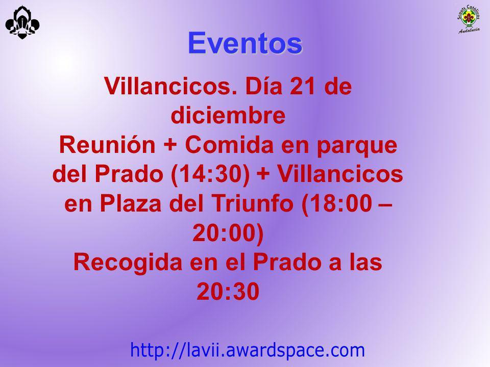 Villancicos. Día 21 de diciembre Recogida en el Prado a las 20:30