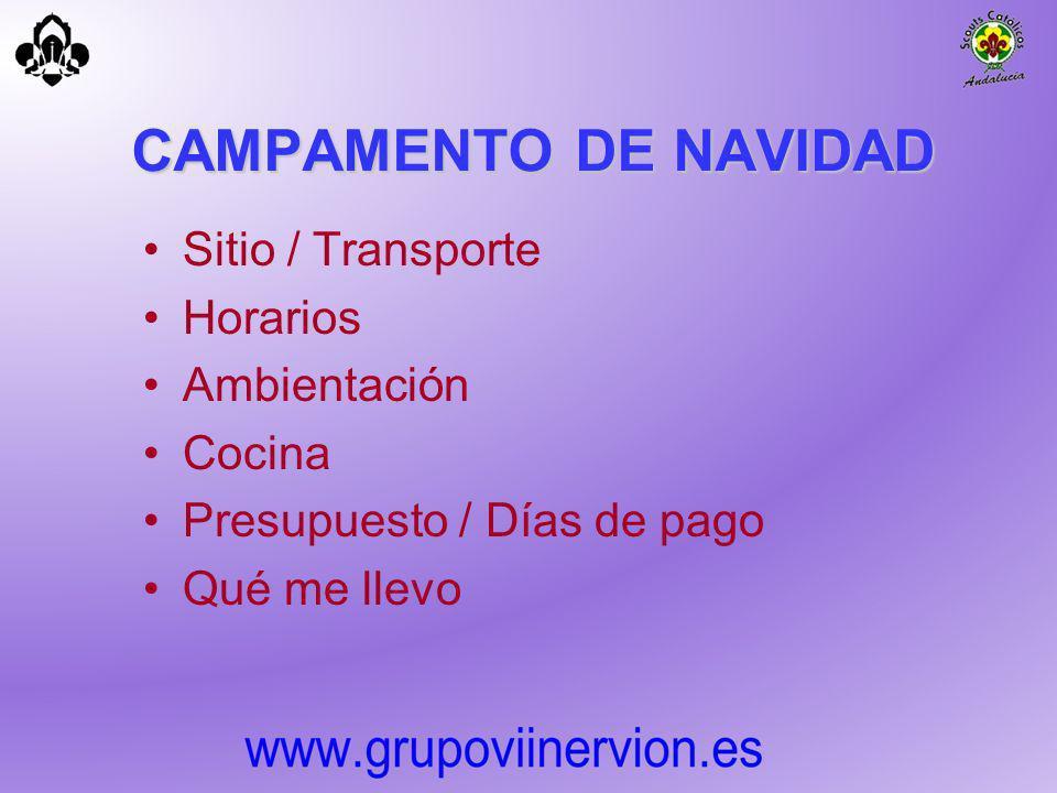 CAMPAMENTO DE NAVIDAD Sitio / Transporte Horarios Ambientación Cocina