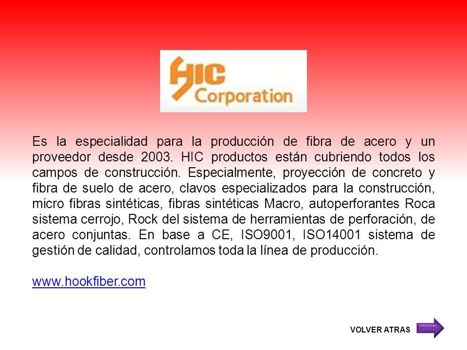 Es la especialidad para la producción de fibra de acero y un proveedor desde 2003. HIC productos están cubriendo todos los campos de construcción. Especialmente, proyección de concreto y fibra de suelo de acero, clavos especializados para la construcción, micro fibras sintéticas, fibras sintéticas Macro, autoperforantes Roca sistema cerrojo, Rock del sistema de herramientas de perforación, de acero conjuntas. En base a CE, ISO9001, ISO14001 sistema de gestión de calidad, controlamos toda la línea de producción.