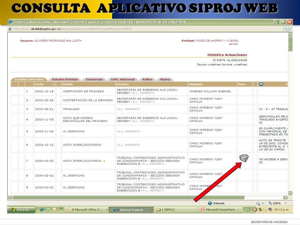 CONSULTA APLICATIVO SIPROJ WEB