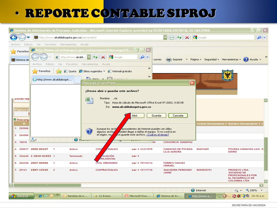 REPORTE CONTABLE SIPROJ