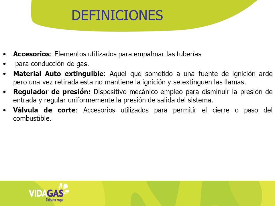 DEFINICIONES Accesorios: Elementos utilizados para empalmar las tuberías. para conducción de gas.