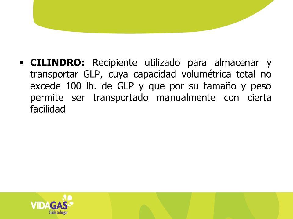 CILINDRO: Recipiente utilizado para almacenar y transportar GLP, cuya capacidad volumétrica total no excede 100 lb.