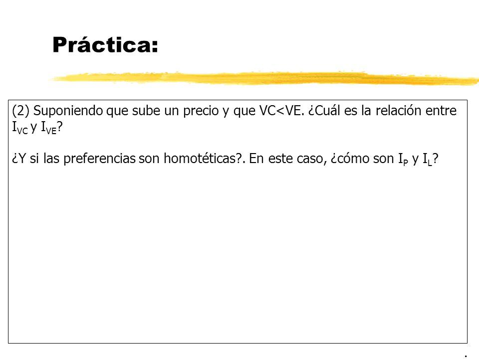 Práctica: (2) Suponiendo que sube un precio y que VC<VE. ¿Cuál es la relación entre IVC y IVE