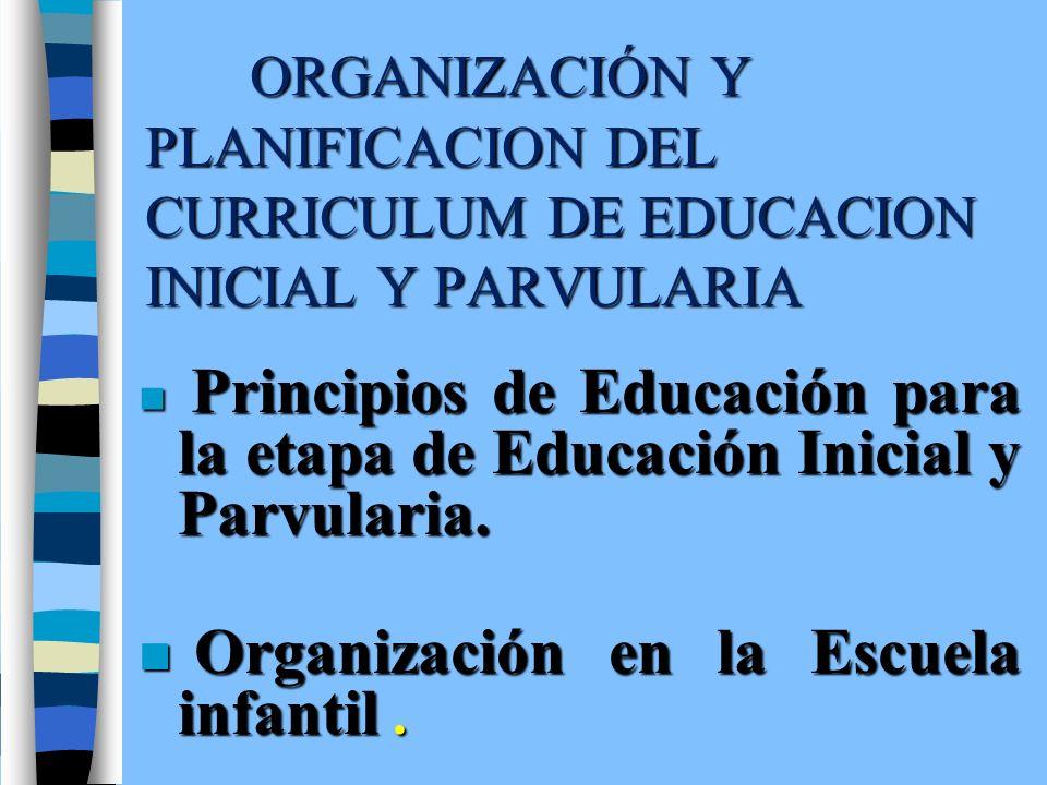 Organización en la Escuela infantil .