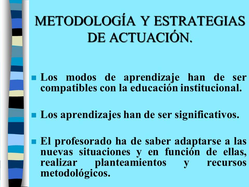 METODOLOGÍA Y ESTRATEGIAS DE ACTUACIÓN.