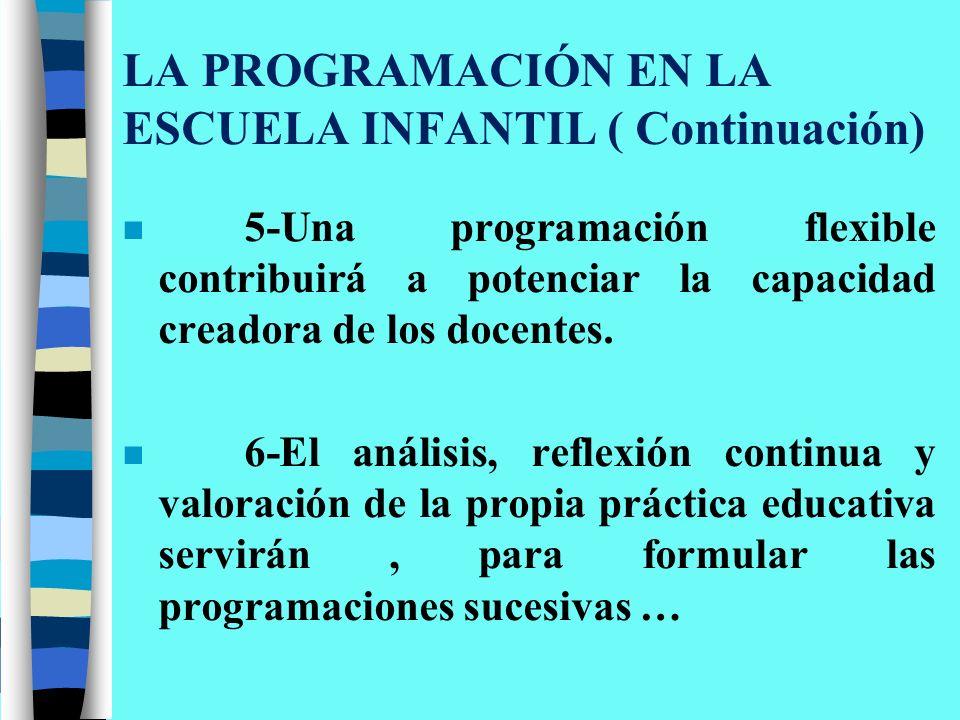 LA PROGRAMACIÓN EN LA ESCUELA INFANTIL ( Continuación)