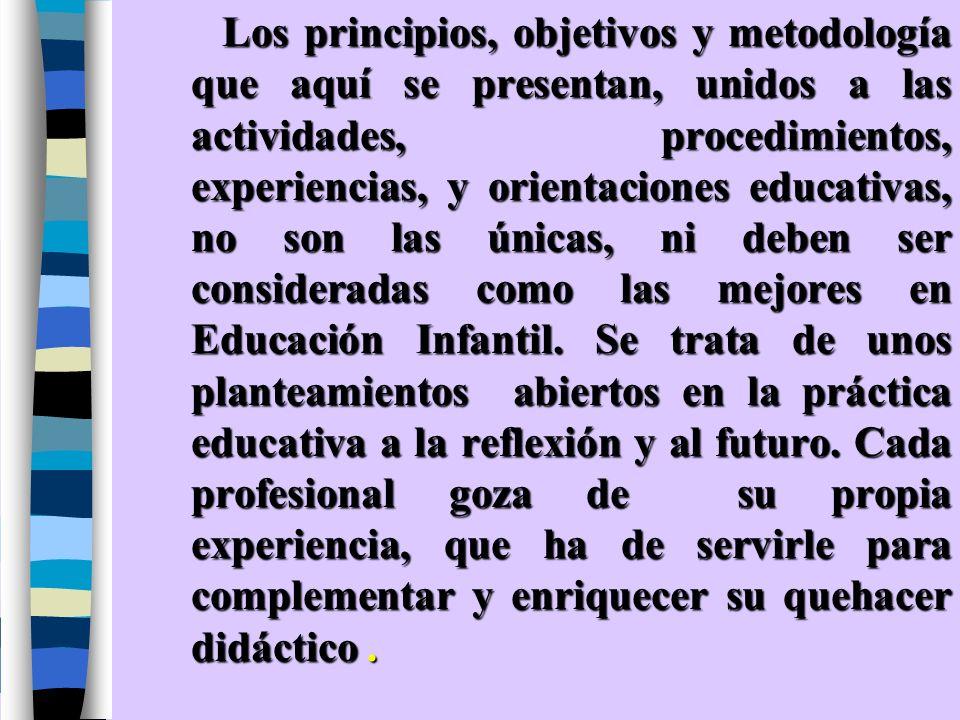 Los principios, objetivos y metodología que aquí se presentan, unidos a las actividades, procedimientos, experiencias, y orientaciones educativas, no son las únicas, ni deben ser consideradas como las mejores en Educación Infantil.
