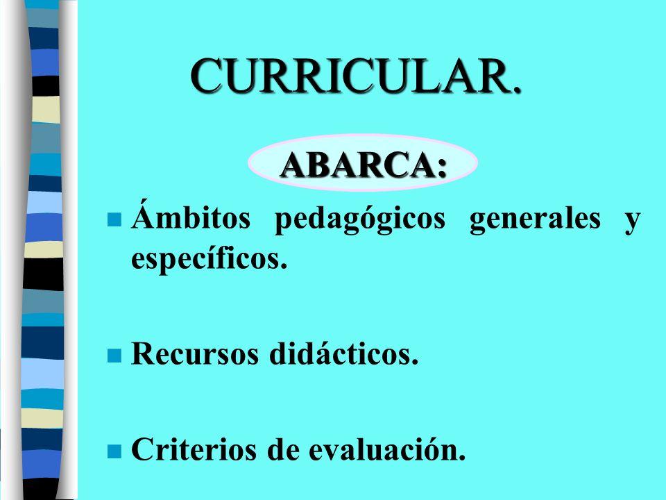 CURRICULAR. ABARCA: Ámbitos pedagógicos generales y específicos.
