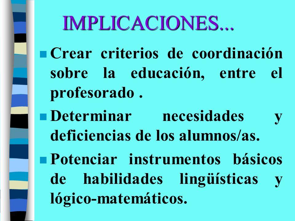 IMPLICACIONES... Crear criterios de coordinación sobre la educación, entre el profesorado .