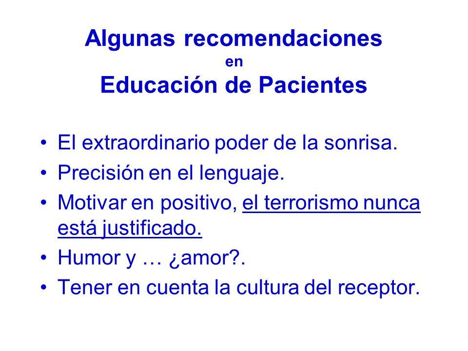 Algunas recomendaciones en Educación de Pacientes