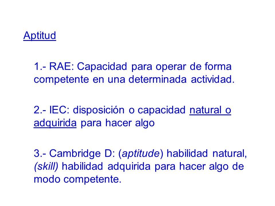 2.- IEC: disposición o capacidad natural o adquirida para hacer algo