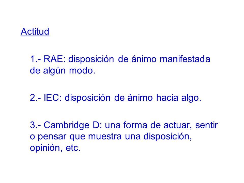 Actitud 1.- RAE: disposición de ánimo manifestada de algún modo. 2.- IEC: disposición de ánimo hacia algo.