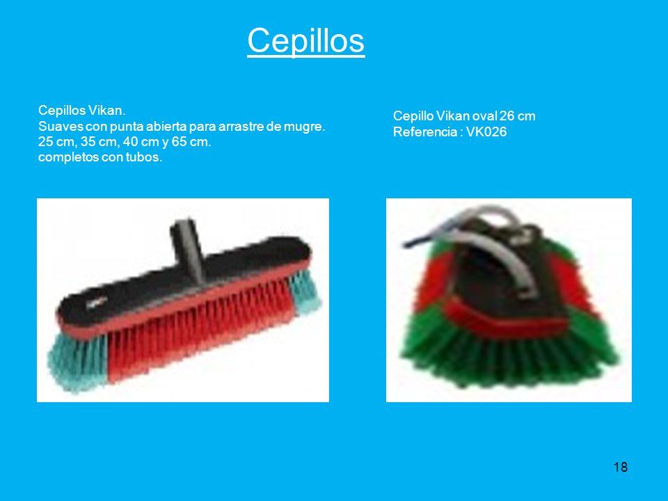 Cepillos Cepillos Vikan. Suaves con punta abierta para arrastre de mugre. 25 cm, 35 cm, 40 cm y 65 cm. completos con tubos.