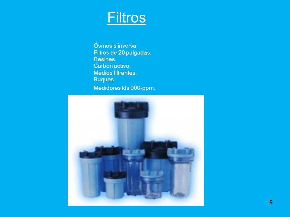 Filtros Ósmosis inversa Filtros de 20 pulgadas. Resinas.
