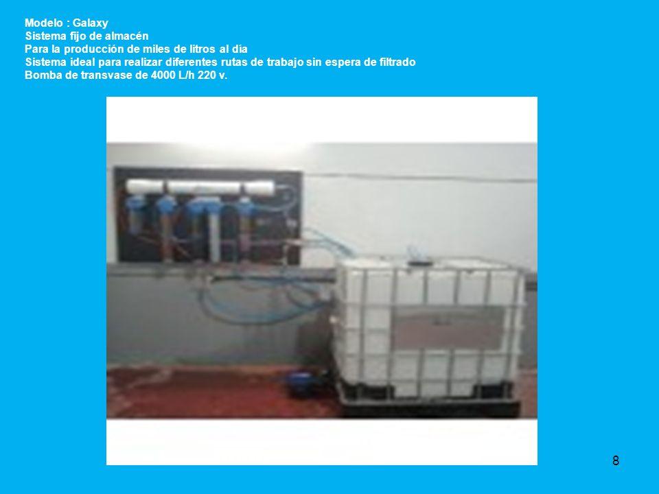 Modelo : Galaxy Sistema fijo de almacén. Para la producción de miles de litros al día.