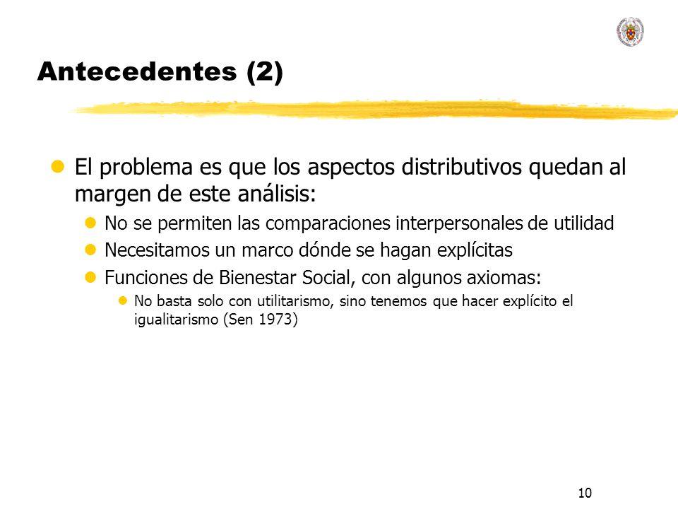 Antecedentes (2) El problema es que los aspectos distributivos quedan al margen de este análisis: