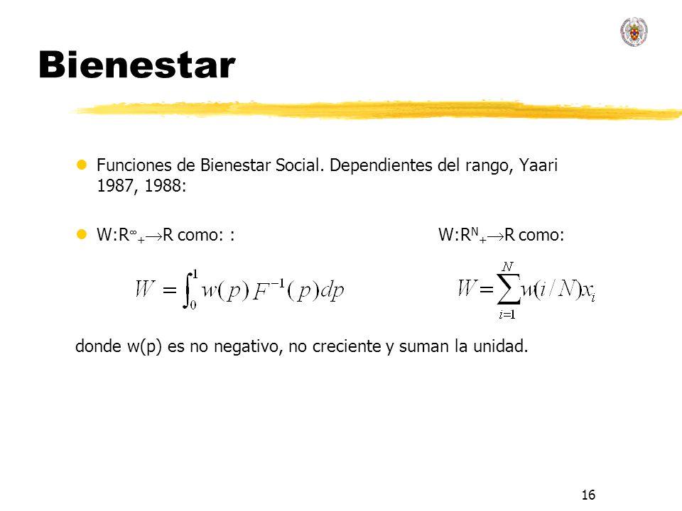 BienestarFunciones de Bienestar Social. Dependientes del rango, Yaari 1987, 1988: W:R+R como: : W:RN+R como: