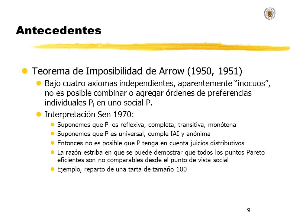 Antecedentes Teorema de Imposibilidad de Arrow (1950, 1951)