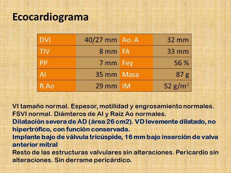 Ecocardiograma DVI 40/27 mm Ao. A 32 mm TIV 8 mm FA 33 mm PP 7 mm Fey