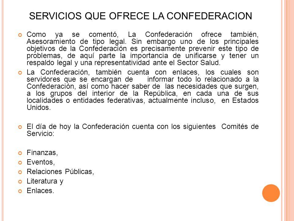 SERVICIOS QUE OFRECE LA CONFEDERACION