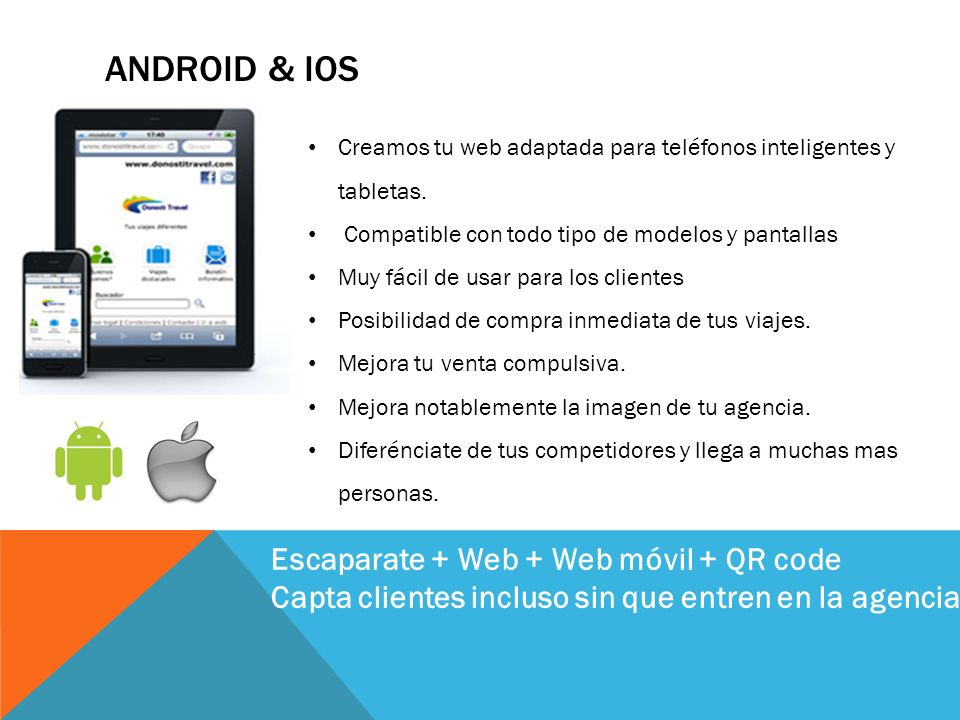 Android & ios Escaparate + Web + Web móvil + QR code