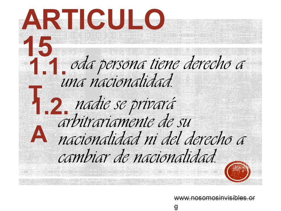 Articulo 15 1.1. T. oda persona tiene derecho a una nacionalidad.