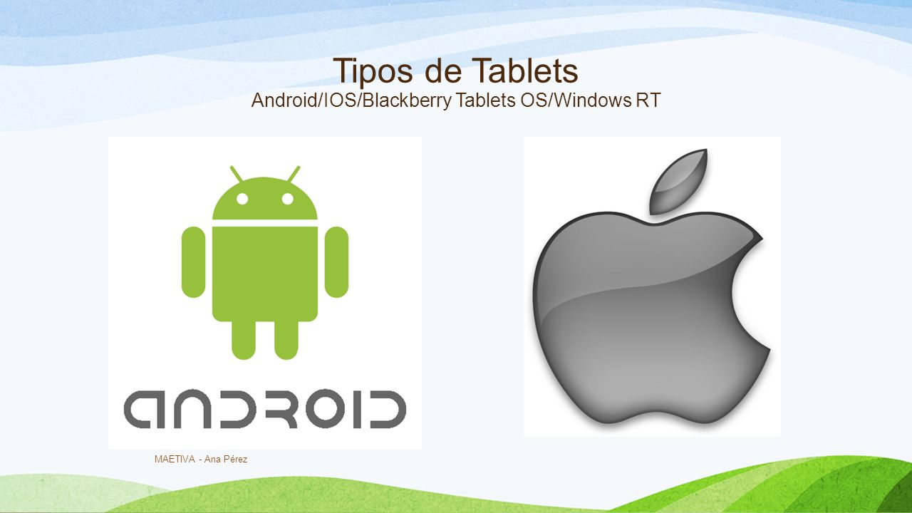 Tipos de Tablets Android/IOS/Blackberry Tablets OS/Windows RT