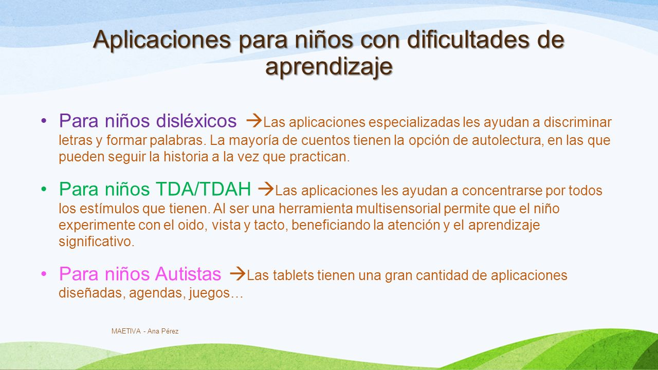 Aplicaciones para niños con dificultades de aprendizaje