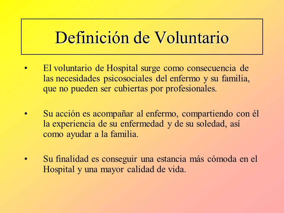 Definición de Voluntario