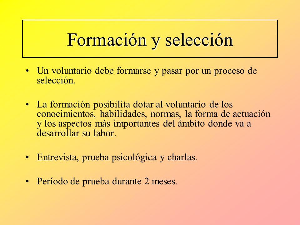 Formación y selección Un voluntario debe formarse y pasar por un proceso de selección.