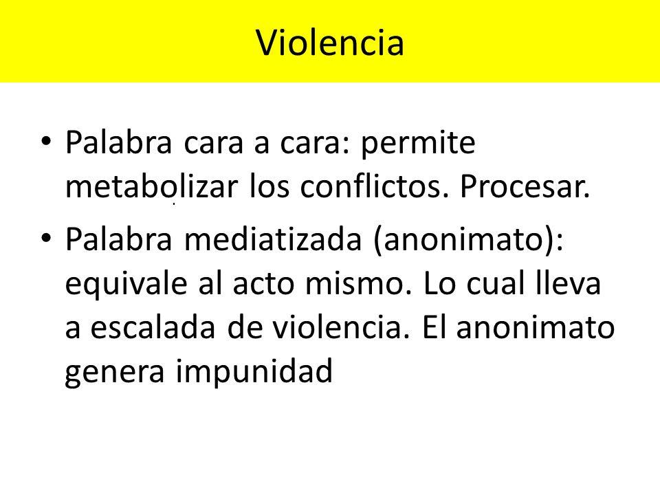 Violencia Palabra cara a cara: permite metabolizar los conflictos. Procesar.