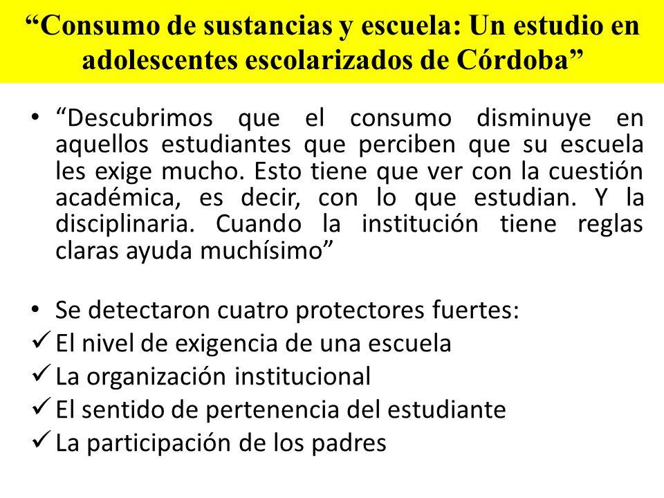 Consumo de sustancias y escuela: Un estudio en adolescentes escolarizados de Córdoba