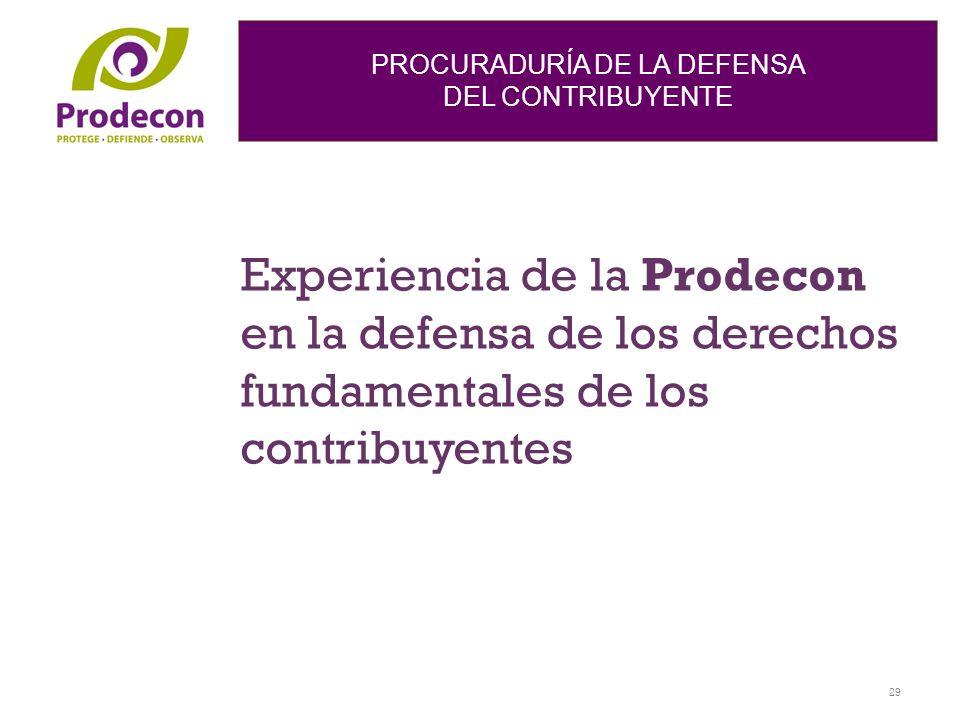 Experiencia de la Prodecon en la defensa de los derechos fundamentales de los contribuyentes