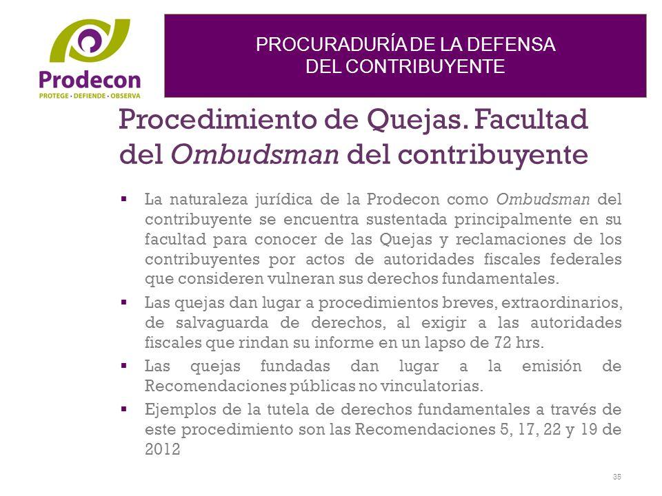 Procedimiento de Quejas. Facultad del Ombudsman del contribuyente