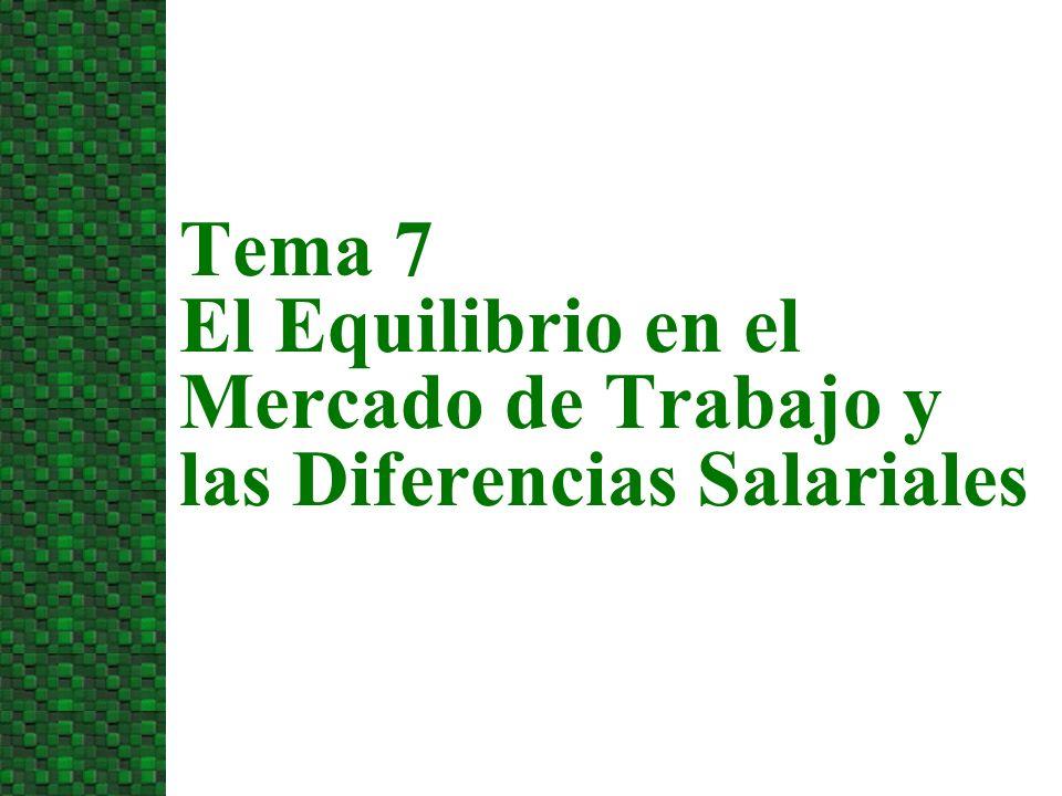 3/24/2017 Tema 7 El Equilibrio en el Mercado de Trabajo y las Diferencias Salariales
