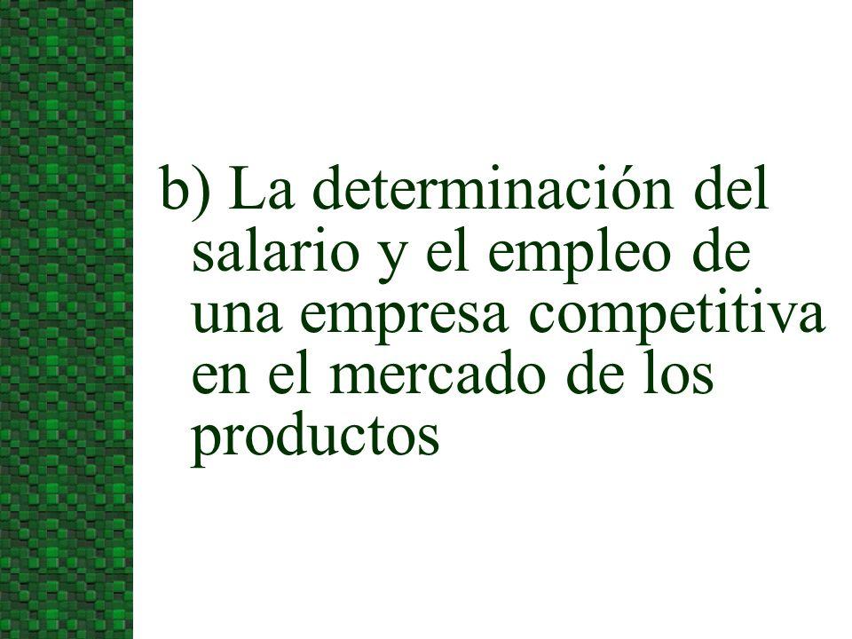 3/24/2017 b) La determinación del salario y el empleo de una empresa competitiva en el mercado de los productos.