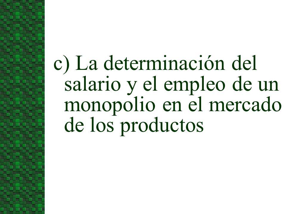3/24/2017c) La determinación del salario y el empleo de un monopolio en el mercado de los productos.