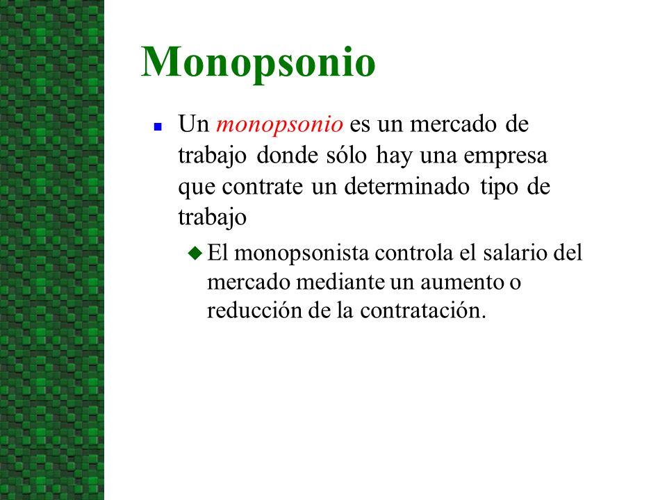 3/24/2017 Monopsonio. Un monopsonio es un mercado de trabajo donde sólo hay una empresa que contrate un determinado tipo de trabajo.