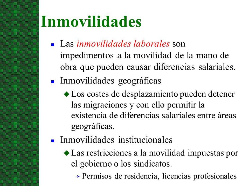 3/24/2017 Inmovilidades. Las inmovilidades laborales son impedimentos a la movilidad de la mano de obra que pueden causar diferencias salariales.