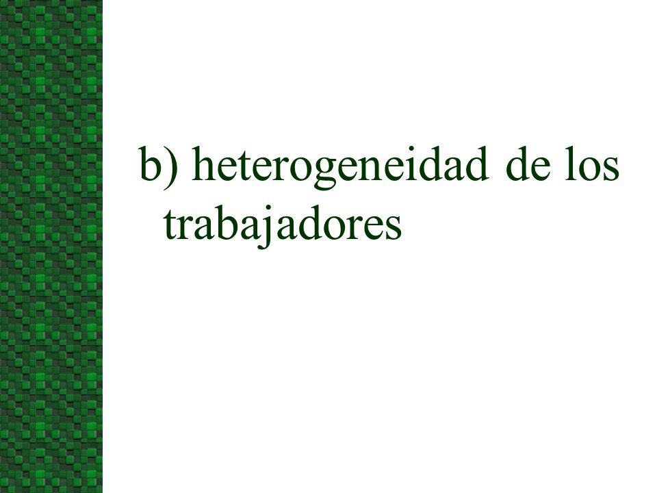 b) heterogeneidad de los trabajadores