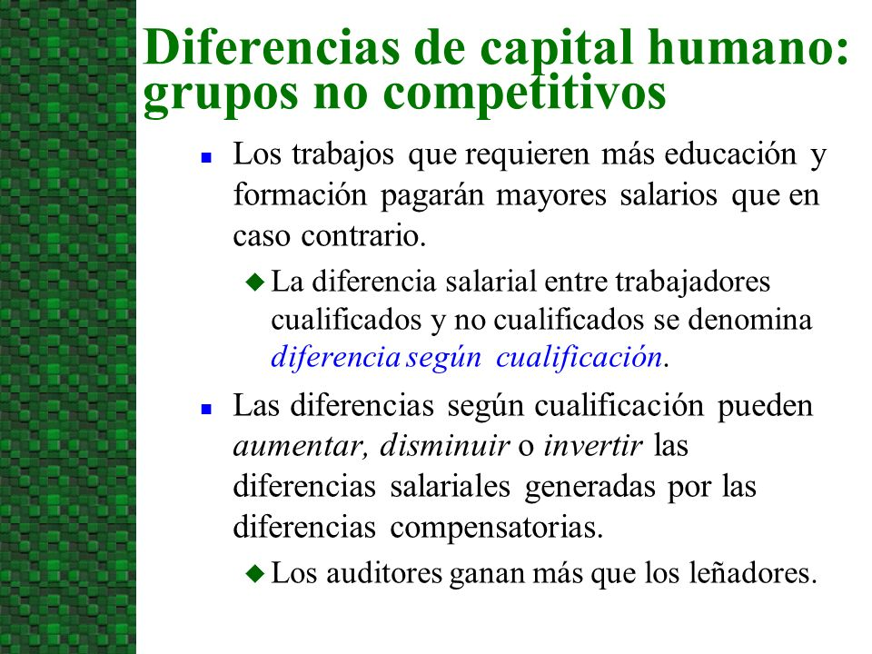 Diferencias de capital humano: grupos no competitivos